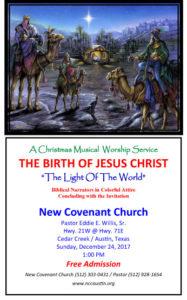 A Glorious Christmas Muscial Worship Service, Sunday December 24, 2017 @ 1:00 PM